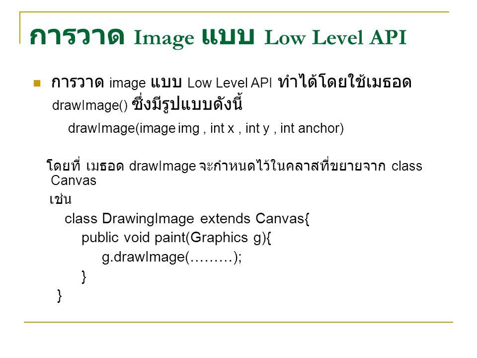 การวาด Image แบบ Low Level API การวาด image แบบ Low Level API ทำได้โดยใช้เมธอด drawImage() ซึ่งมีรูปแบบดังนี้ drawImage(image img, int x, int y, int anchor) โดยที่ เมธอด drawImage จะกำหนดไว้ในคลาสที่ขยายจาก class Canvas เช่น class DrawingImage extends Canvas{ public void paint(Graphics g){ g.drawImage(………); }