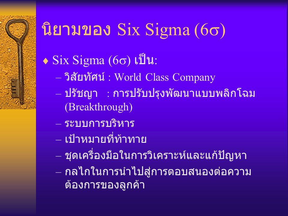 นิยามของ Six Sigma (6  )  Six Sigma (6  ) เป็น : – วิสัยทัศน์ : World Class Company – ปรัชญา : การปรับปรุงพัฒนาแบบพลิกโฉม (Breakthrough) – ระบบการบ