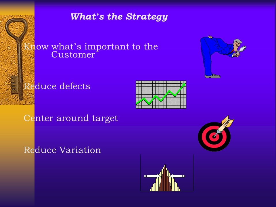 What ' s the Strategy Know what ' s important to the Customer Reduce defects Center around target Reduce Variation