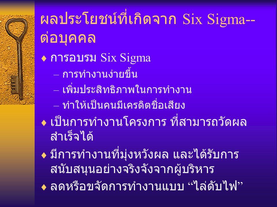ผลประโยชน์ที่เกิดจาก Six Sigma-- ต่อบุคคล  การอบรม Six Sigma – การทำงานง่ายขึ้น – เพิ่มประสิทธิภาพในการทำงาน – ทำให้เป็นคนมีเครดิตชื่อเสียง  เป็นการ