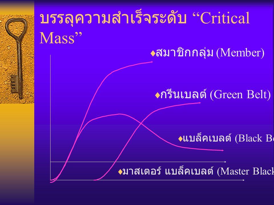 """บรรลุความสำเร็จระดับ """"Critical Mass""""  กรีนเบลต์ (Green Belt)  สมาชิกกลุ่ม (Member)  แบล็คเบลต์ (Black Belt)  มาสเตอร์ แบล็คเบลต์ (Master Black Bel"""