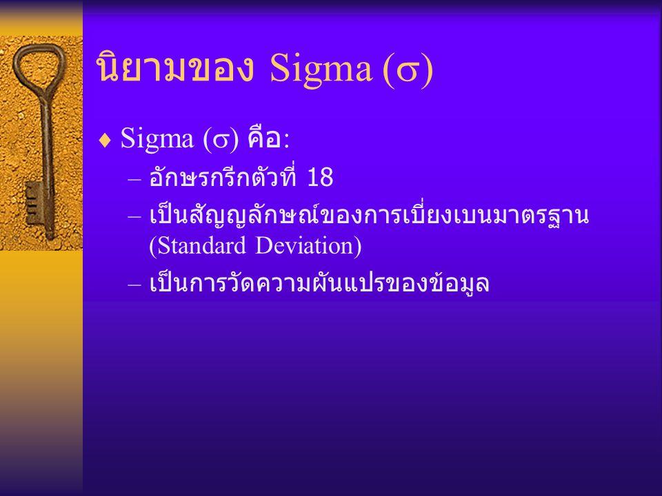 นิยามของ Sigma (  )  Sigma (  ) คือ : – อักษรกรีกตัวที่ 18 – เป็นสัญญลักษณ์ของการเบี่ยงเบนมาตรฐาน (Standard Deviation) – เป็นการวัดความผันแปรของข้อ