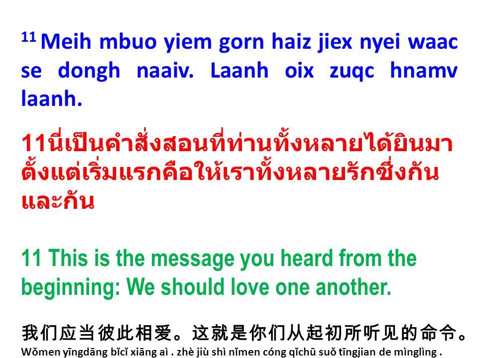 11 Meih mbuo yiem gorn haiz jiex nyei waac se dongh naaiv. Laanh oix zuqc hnamv laanh. 11 นี่เป็นคำสั่งสอนที่ท่านทั้งหลายได้ยินมา ตั้งแต่เริ่มแรกคือให