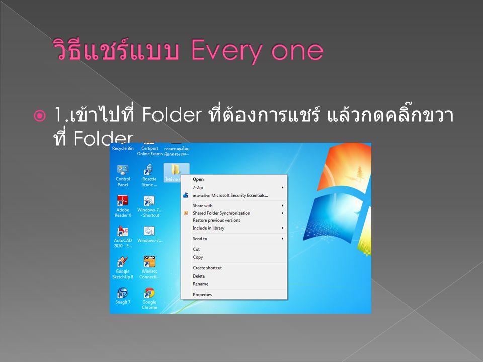  1. เข้าไปที่ Folder ที่ต้องการแชร์ แล้วกดคลิ๊กขวา ที่ Folder