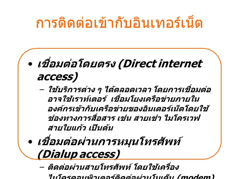 การติดต่อเข้ากับอินเทอร์เน็ต เชื่อมต่อโดยตรง (Direct internet access) – ใช้บริการต่าง ๆ ได้ตลอดเวลา โดยการเชื่อมต่อ อาจใช้เราท์เตอร์ เชื่อมโยงเครือข่า