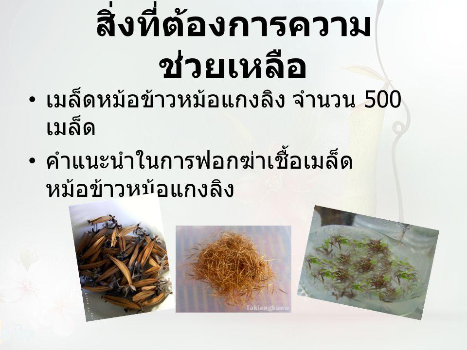 สิ่งที่ต้องการความ ช่วยเหลือ เมล็ดหม้อข้าวหม้อแกงลิง จำนวน 500 เมล็ด คำแนะนำในการฟอกฆ่าเชื้อเมล็ด หม้อข้าวหม้อแกงลิง
