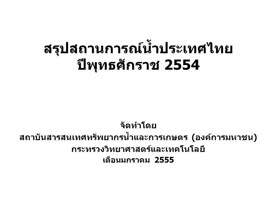 1 สรุปสถานการณ์น้ำประเทศไทย ปีพุทธศักราช 2554 จัดทำโดย สถาบันสารสนเทศทรัพยากรน้ำและการเกษตร (องค์การมหาชน) กระทรวงวิทยาศาสตร์และเทคโนโลยี เดือนมกราคม 2555