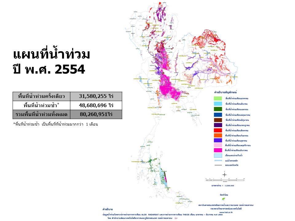 พื้นที่น้ำท่วมครั้งเดียว31,580,255 ไร่ พื้นที่น้ำท่วมซ้ำ * 48,680,696 ไร่ รวมพื้นที่น้ำท่วมทั้งหมด80,260,951ไร่ แผนที่น้ำท่วม ปี พ.ศ.