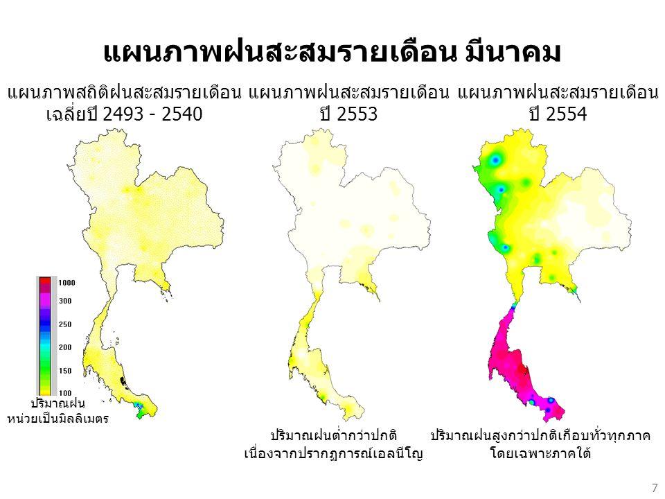แผนภาพฝนสะสมรายเดือน มีนาคม แผนภาพสถิติฝนสะสมรายเดือน เฉลี่ยปี 2493 - 2540 แผนภาพฝนสะสมรายเดือน ปี 2553 ปริมาณฝนต่ำกว่าปกติ เนื่องจากปรากฏการณ์เอลนีโญ แผนภาพฝนสะสมรายเดือน ปี 2554 ปริมาณฝนสูงกว่าปกติเกือบทั่วทุกภาค โดยเฉพาะภาคใต้ ปริมาณฝน หน่วยเป็นมิลลิเมตร 7