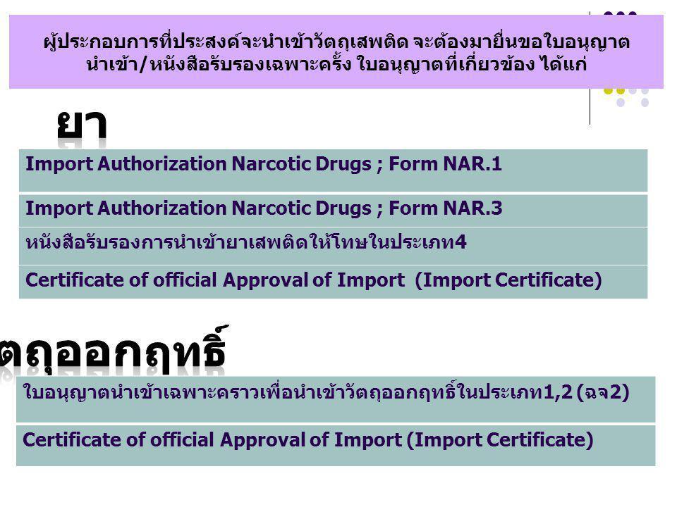 ผู้ประกอบการที่ประสงค์จะนำเข้าวัตถุเสพติด จะต้องมายื่นขอใบอนุญาต นำเข้า/หนังสือรับรองเฉพาะครั้ง ใบอนุญาตที่เกี่ยวข้อง ได้แก่ Import Authorization Narc