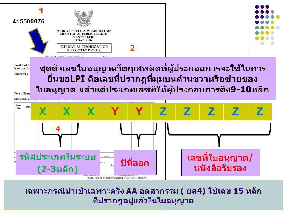 1 2 3 4 5 67 415500076 XXXYYZZZZZ ชุดตัวเลขใบอนุญาตวัตถุเสพติดที่ผู้ประกอบการจะใช้ในการ ยื่นขอLPI คือเลขที่ปรากฏที่มุมบนด้านขวาหรือซ้ายของ ใบอนุญาต แล