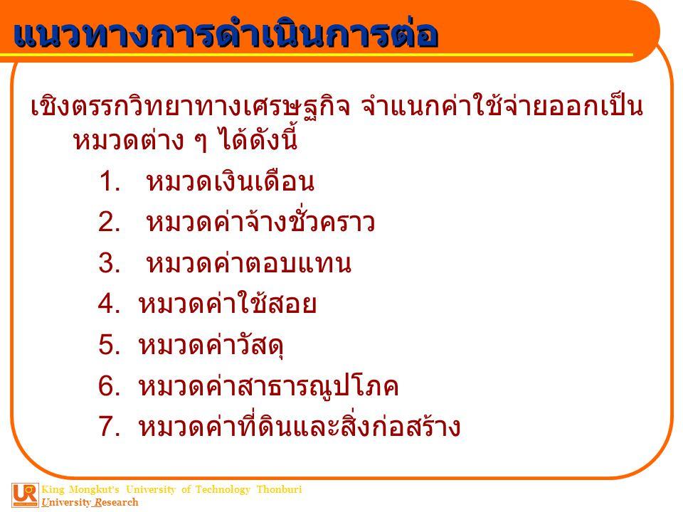 King Mongkut ' s University of Technology Thonburi University Research แนวทางการดำเนินการต่อ การประเมินค่าต้นทุน ต้นทุน (Cost) คือค่าใช้จ่ายที่ต้องการจ่ายให้ เป็นผลตอบแทนแก่ ปัจจัยการผลิตทุกชนิด ที่นำมาใช้ในการกระบวนการ ผลิต ปัจจัยการผลิต ( งานบริการวิชาการ ) 1.