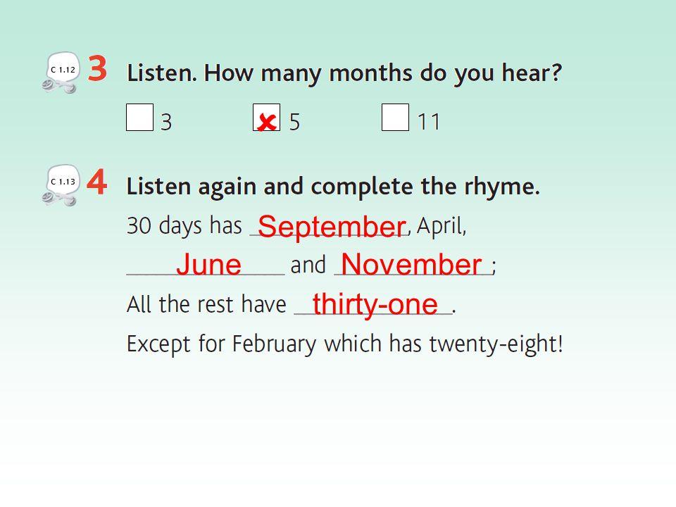 September June November thirty-one C 1.12  C 1.13