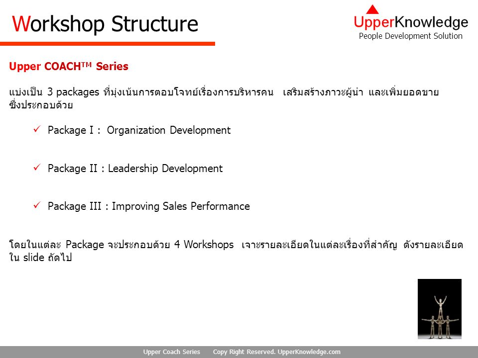 People Development Solution Upper Coach Series Copy Right Reserved. UpperKnowledge.com Upper COACH TM Series แบ่งเป็น 3 packages ที่มุ่งเน้นการตอบโจทย