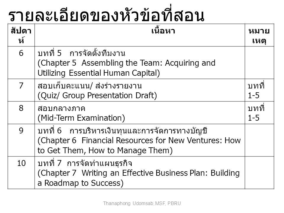 รายละเอียดของหัวข้อที่สอน สัปดา ห์ เนื้อหาหมาย เหตุ 6 บทที่ 5 การจัดตั้งทีมงาน (Chapter 5 Assembling the Team: Acquiring and Utilizing Essential Human Capital) 7 สอบเก็บคะแนน / ส่งร่างรายงาน (Quiz/ Group Presentation Draft) บทที่ 1-5 8 สอบกลางภาค (Mid-Term Examination) บทที่ 1-5 9 บทที่ 6 การบริหารเงินทุนและการจัดการทางบัญชี (Chapter 6 Financial Resources for New Ventures: How to Get Them, How to Manage Them) 10 บทที่ 7 การจัดทำแผนธุรกิจ (Chapter 7 Writing an Effective Business Plan: Building a Roadmap to Success) Thanaphong Udomsab, MSF, PBRU
