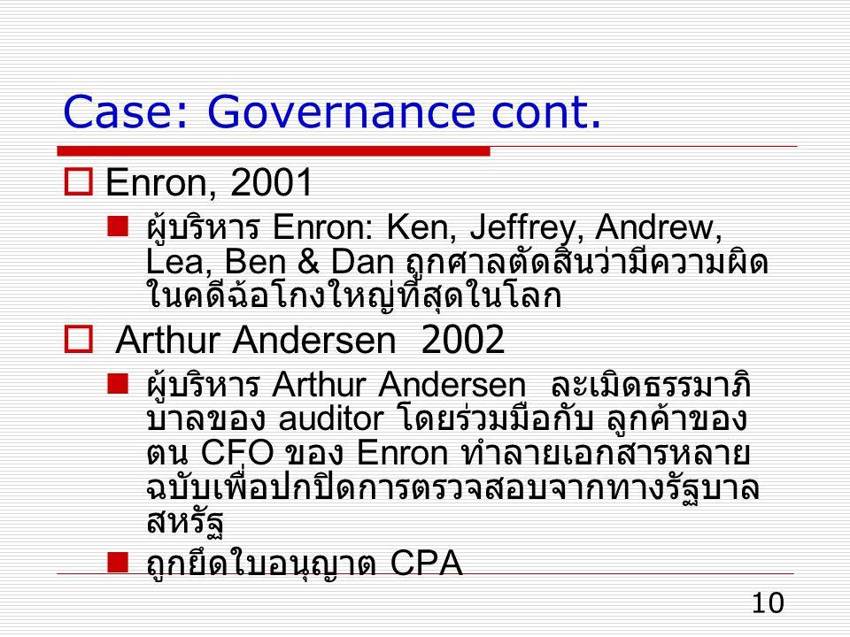 10 Case: Governance cont.