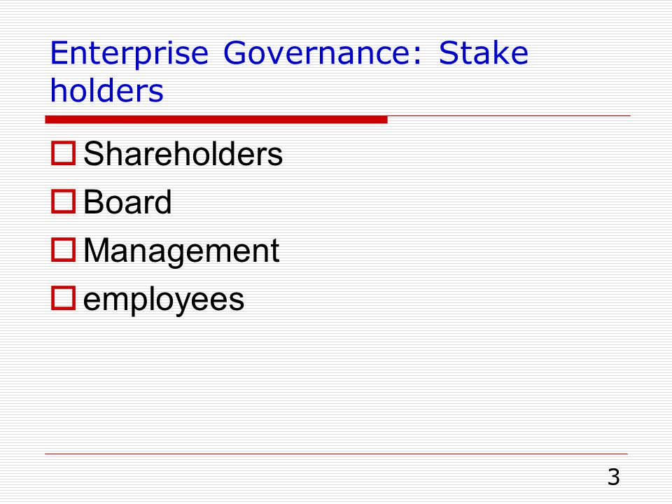 4 IT Governance: Stakeholders  IT Management Executives Middle management Project managers/1 st line managers  User  Auditor