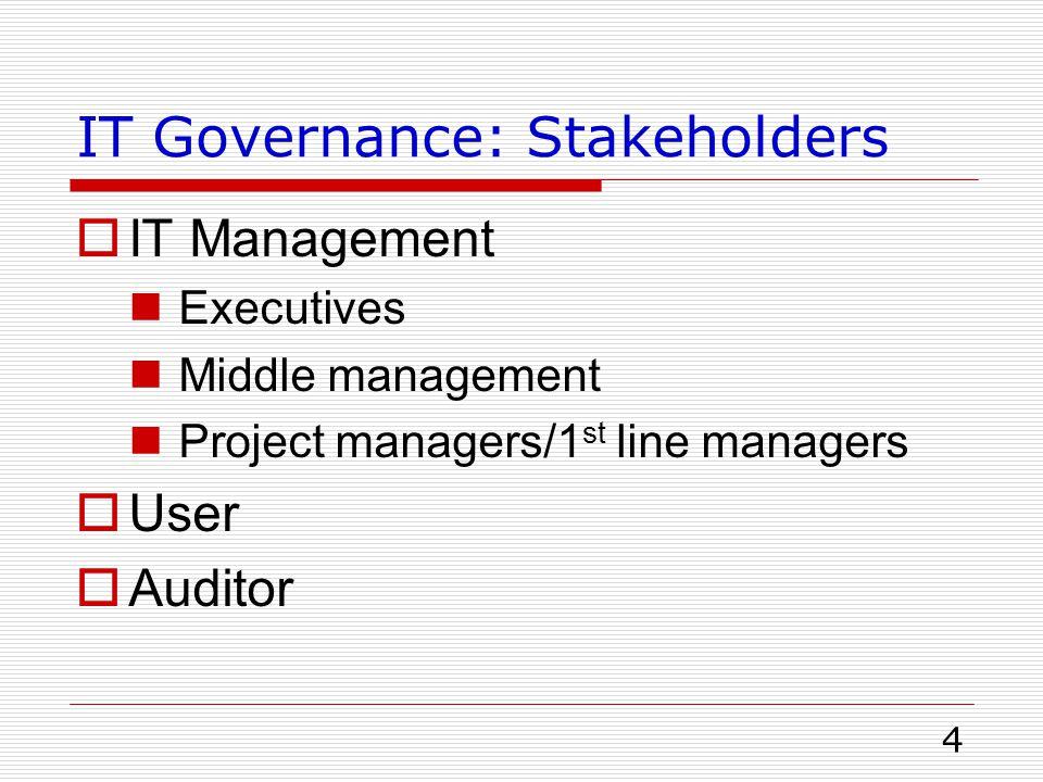 5 Roles  Executives Enterprise governance ร่วมพิจารณา project IT ลดความเสี่ยงและความล้มเหลวของ Project IT คาดหวังผลประโยชน์จากการลงทุน IT ต้องปฏิบัติตามกฎหมาย ข้อบังคับที่ถูกกำกับ ดูแลจากทางรัฐ IT Organization People management & career development