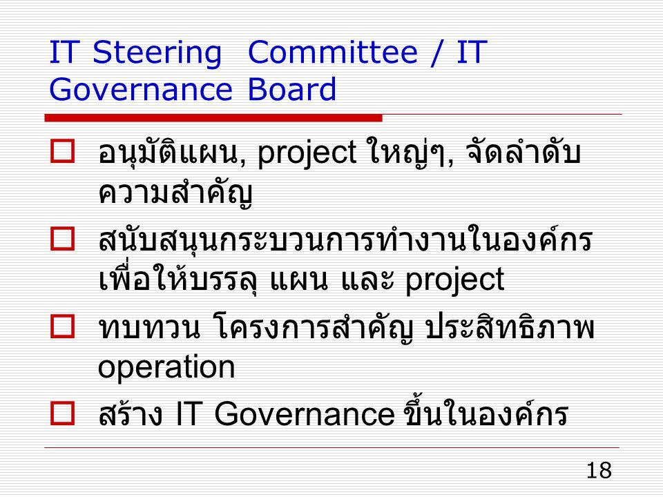 18 IT Steering Committee / IT Governance Board  อนุมัติแผน, project ใหญ่ๆ, จัดลำดับ ความสำคัญ  สนับสนุนกระบวนการทำงานในองค์กร เพื่อให้บรรลุ แผน และ project  ทบทวน โครงการสำคัญ ประสิทธิภาพ operation  สร้าง IT Governance ขึ้นในองค์กร