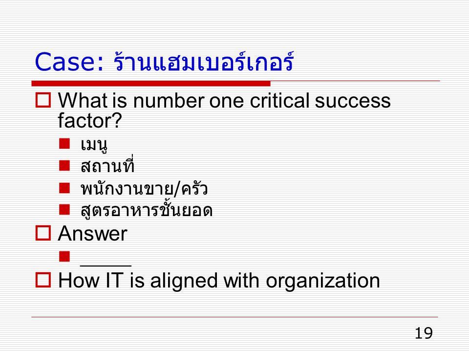 19 Case: ร้านแฮมเบอร์เกอร์  What is number one critical success factor? เมนู สถานที่ พนักงานขาย / ครัว สูตรอาหารชั้นยอด  Answer _____  How IT is al