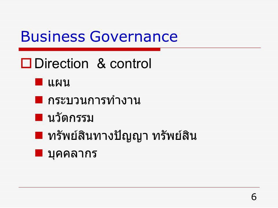 6 Business Governance  Direction & control แผน กระบวนการทำงาน นวัตกรรม ทรัพย์สินทางปัญญา ทรัพย์สิน บุคคลากร