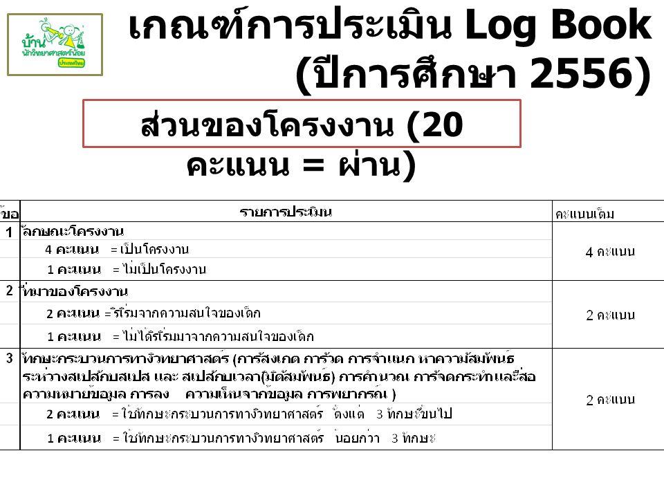 เกณฑ์การประเมิน Log Book ( ปีการศึกษา 2556) ส่วนของโครงงาน (20 คะแนน = ผ่าน )