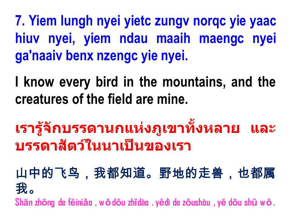 7. Yiem lungh nyei yietc zungv norqc yie yaac hiuv nyei, yiem ndau maaih maengc nyei ga'naaiv benx nzengc yie nyei. I know every bird in the mountains