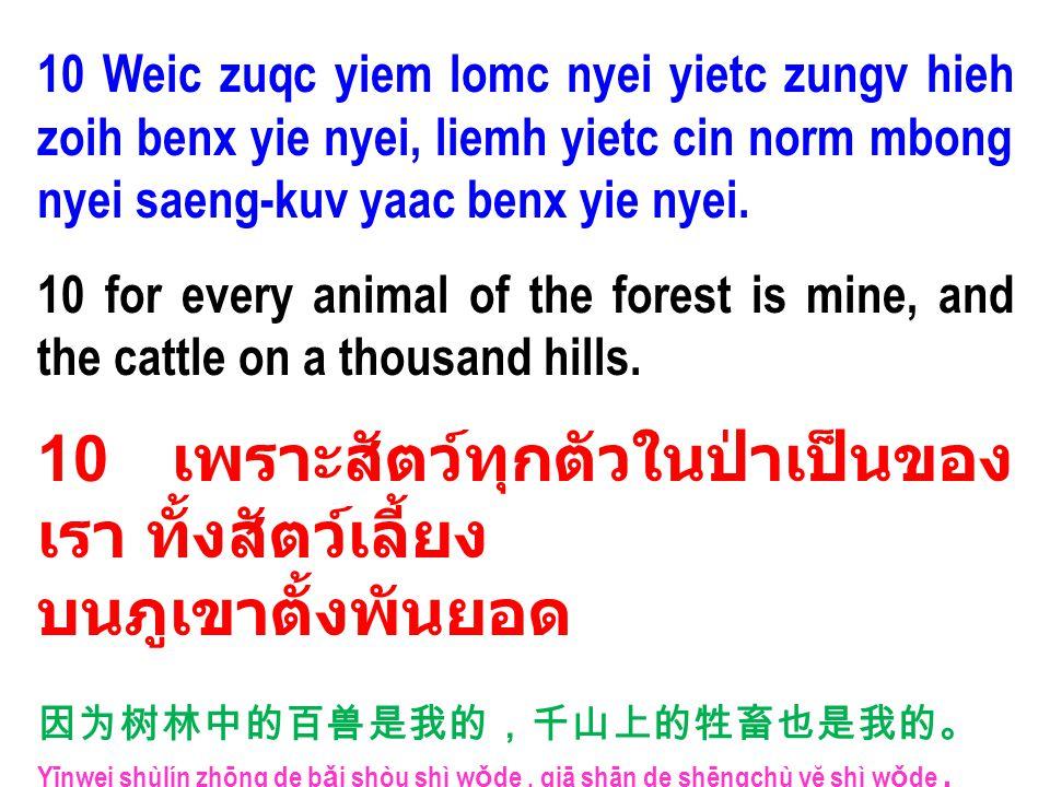 10 Weic zuqc yiem lomc nyei yietc zungv hieh zoih benx yie nyei, liemh yietc cin norm mbong nyei saeng-kuv yaac benx yie nyei. 10 for every animal of