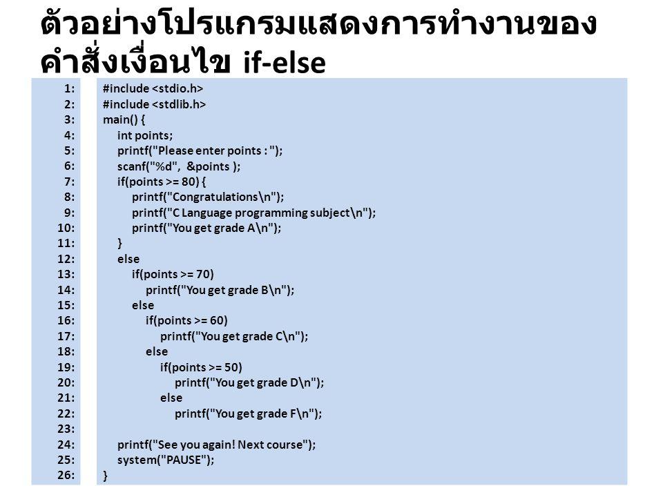 ตัวอย่างโปรแกรมแสดงการทำงานของ คำสั่งเงื่อนไข if-else 1: 2: 3: 4: 5: 6: 7: 8: 9: 10: 11: 12: 13: 14: 15: 16: 17: 18: 19: 20: 21: 22: 23: 24: 25: 26: #