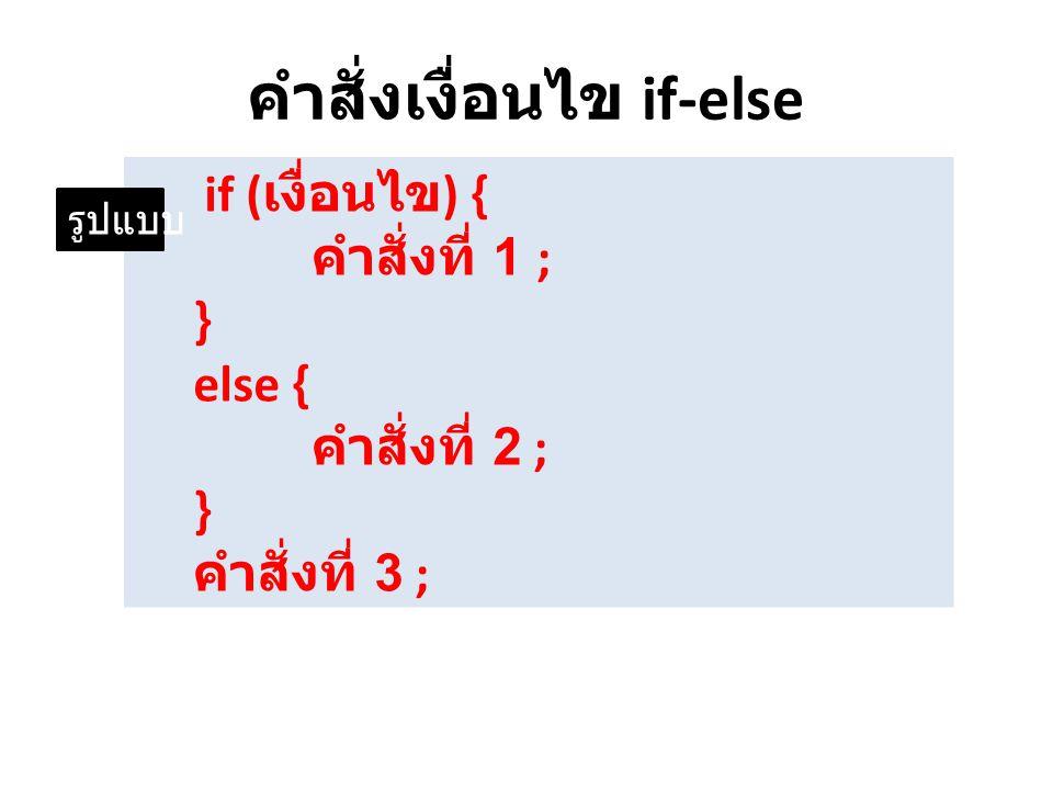 คำสั่งเงื่อนไข if-else if ( เงื่อนไข ) { คำสั่งที่ 1 ; } else { คำสั่งที่ 2 ; } คำสั่งที่ 3 ; รูปแบบ