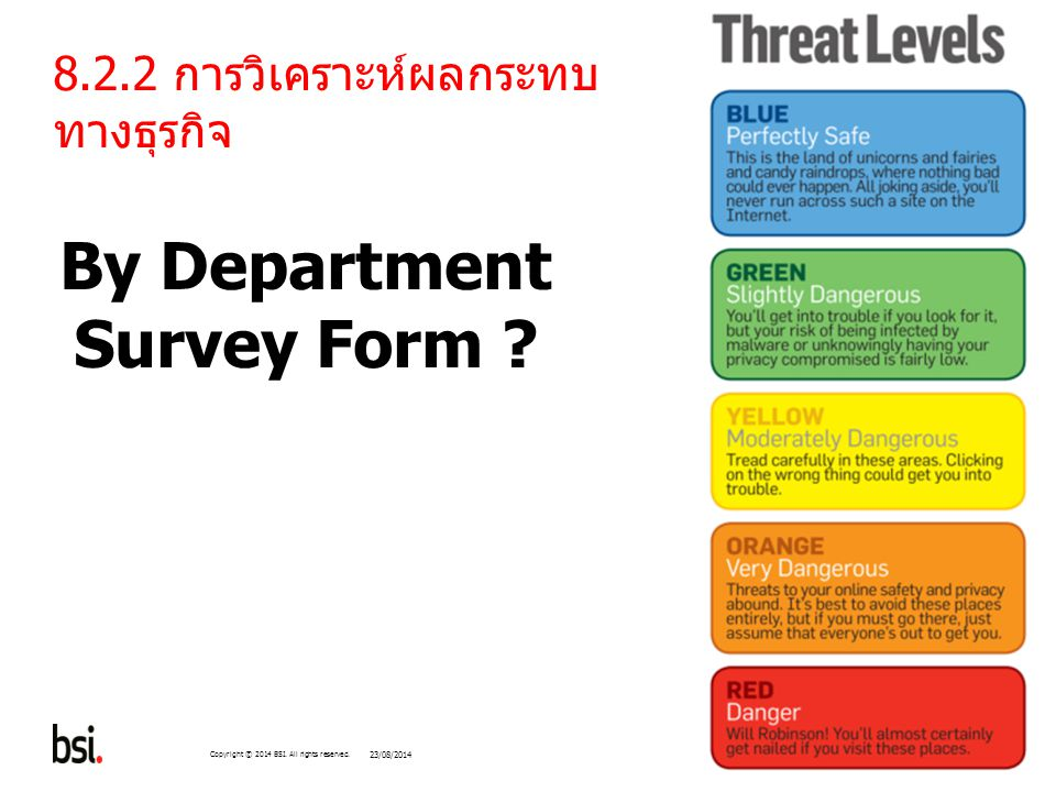 228 Copyright © 2014 BSI. All rights reserved. 8.2.2 การวิเคราะห์ผลกระทบ ทางธุรกิจ By Department Survey Form ? 23/08/2014