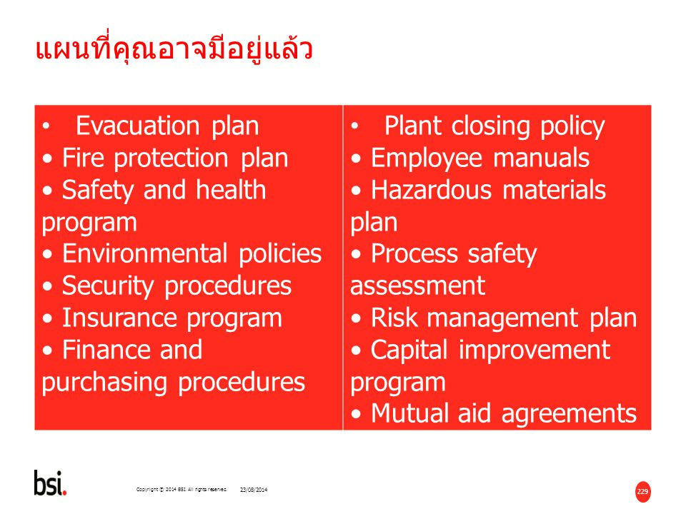229 Copyright © 2014 BSI. All rights reserved. แผนที่คุณอาจมีอยู่แล้ว Evacuation plan Fire protection plan Safety and health program Environmental pol