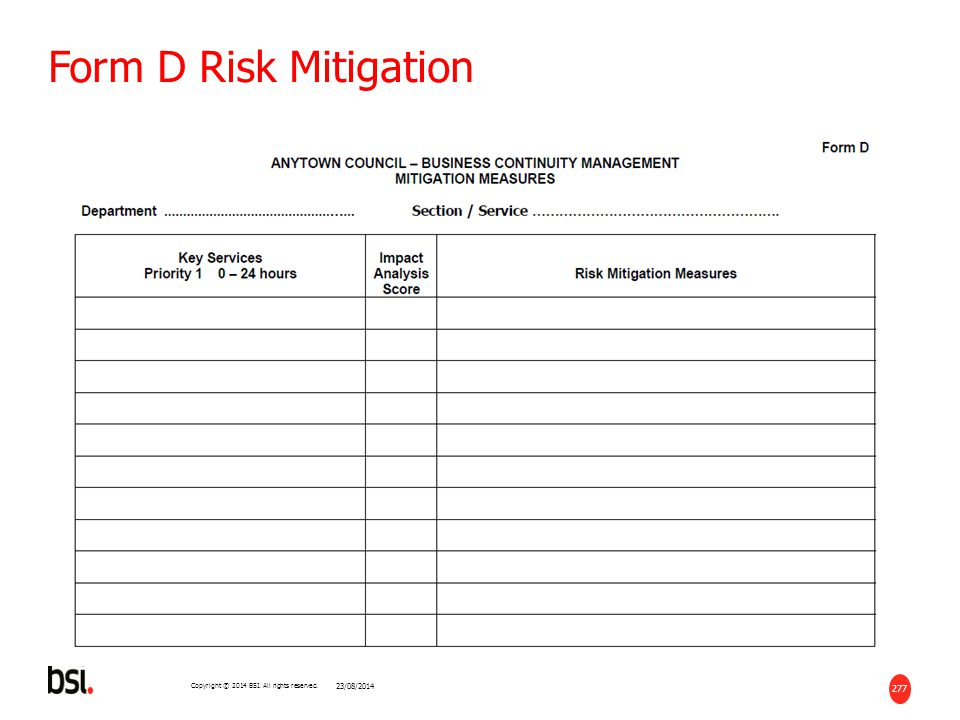 277 Copyright © 2014 BSI. All rights reserved. Form D Risk Mitigation 23/08/2014