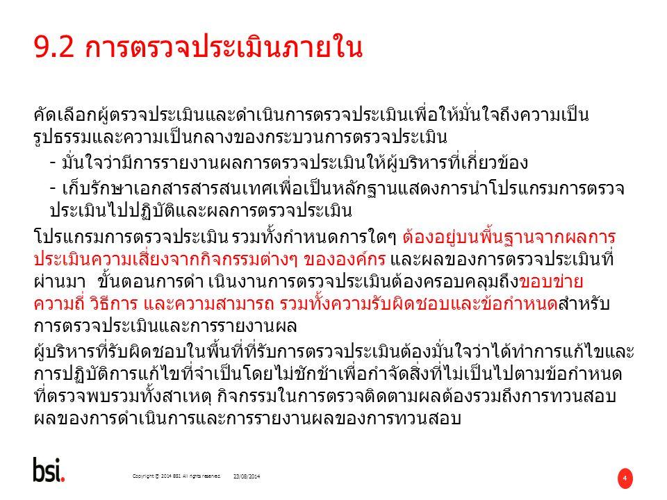 45 Copyright © 2014 BSI. All rights reserved. อะไรคือภัยภิบัติ ที่อาจมีต่อองค์กรคุณ 23/08/2014