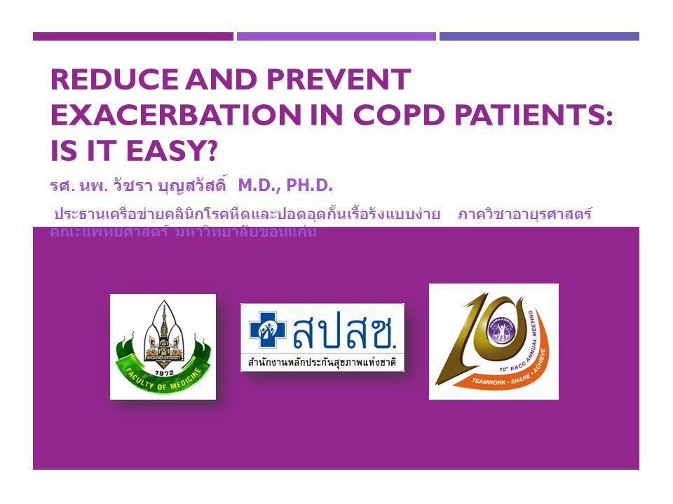 REDUCE AND PREVENT EXACERBATION IN COPD PATIENTS: IS IT EASY? รศ. นพ. วัชรา บุญสวัสดิ์ M.D., PH.D. ประธานเครือข่ายคลินิกโรคหืดและปอดอุดกั้นเรื้อรังแบบ