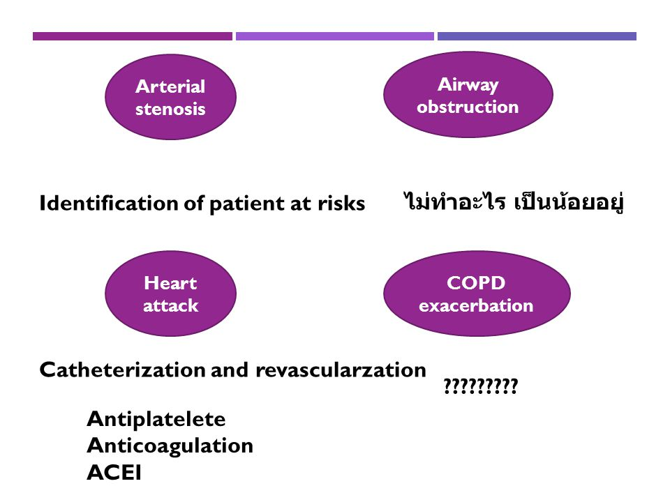 Heart attack COPD exacerbation Arterial stenosis Airway obstruction Identification of patient at risks Antiplatelete Anticoagulation ACEI Catheterization and revascularzation ไม่ทำอะไร เป็นน้อยอยู่ ?????????