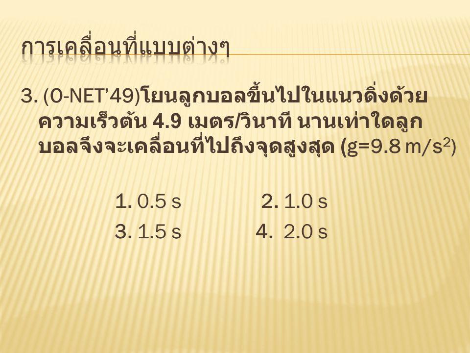 3. (O-NET'49) โยนลูกบอลขึ้นไปในแนวดิ่งด้วย ความเร็วต้น 4.9 เมตร / วินาที นานเท่าใดลูก บอลจึงจะเคลื่อนที่ไปถึงจุดสูงสุด (g=9.8 m/s 2 ) 1. 0.5 s 2. 1.0