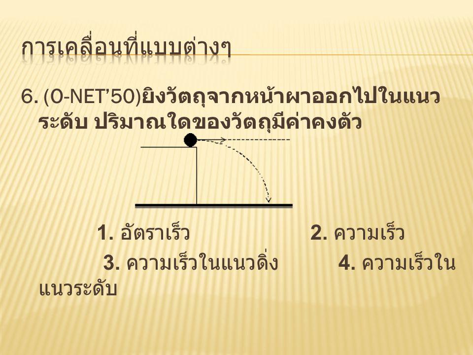 6.(O-NET'50) ยิงวัตถุจากหน้าผาออกไปในแนว ระดับ ปริมาณใดของวัตถุมีค่าคงตัว 1.