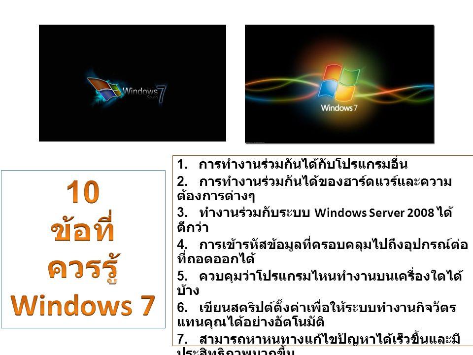 1. การทำงานร่วมกันได้กับโปรแกรมอื่น 2. การทำงานร่วมกันได้ของฮาร์ดแวร์และความ ต้องการต่างๆ 3. ทำงานร่วมกับระบบ Windows Server 2008 ได้ ดีกว่า 4. การเข้
