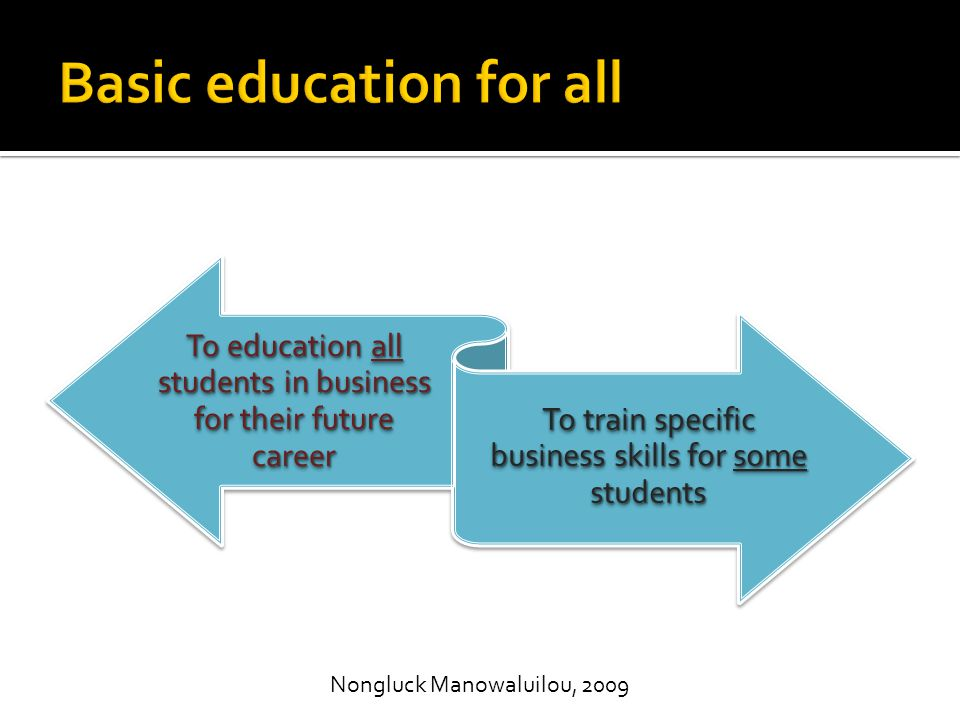 To education all students in business for their future career To train specific business skills for some students Nongluck Manowaluilou, 2009