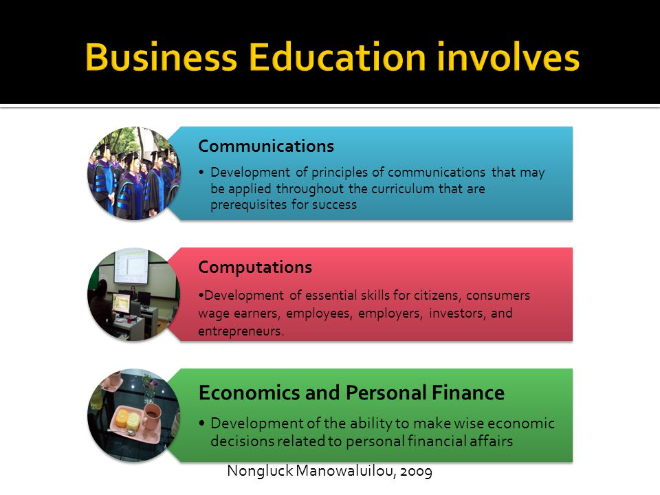  The National Standards for Business Education are based on the conviction that business education competencies are essential for all students.