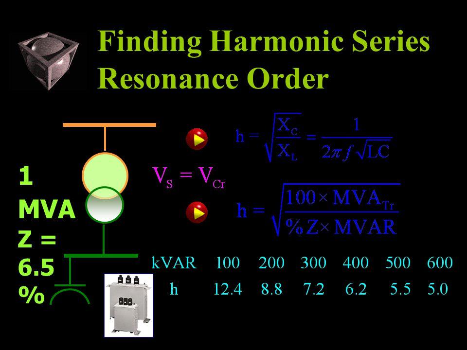 Finding Harmonic Series Resonance Order 1 MVA Z = 6.5 %