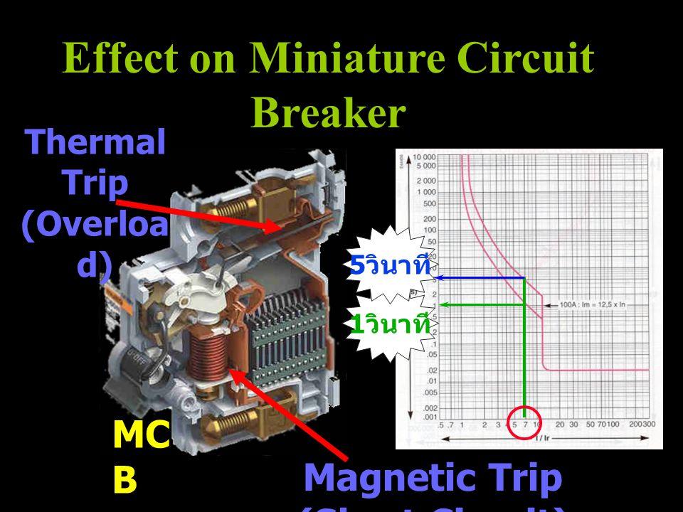 Effect on Miniature Circuit Breaker Magnetic Trip (Short Circuit) Thermal Trip (Overloa d) MC B 1 วินาที 5 วินาที