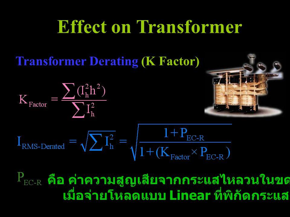 Effect on Transformer คือ ค่าความสูญเสียจากกระแสไหลวนในขดลวดของหม้อแปลงไฟฟ้า เมื่อจ่ายโหลดแบบ Linear ที่พิกัดกระแส (50 Hz) Transformer Derating (K Fac