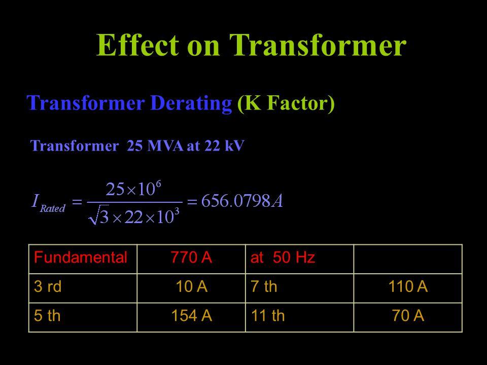 Effect on Transformer Transformer Derating (K Factor) Transformer 25 MVA at 22 kV Fundamental770 Aat 50 Hz 3 rd10 A7 th110 A 5 th154 A11 th70 A
