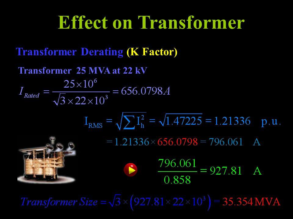 Effect on Transformer Transformer Derating (K Factor) Transformer 25 MVA at 22 kV
