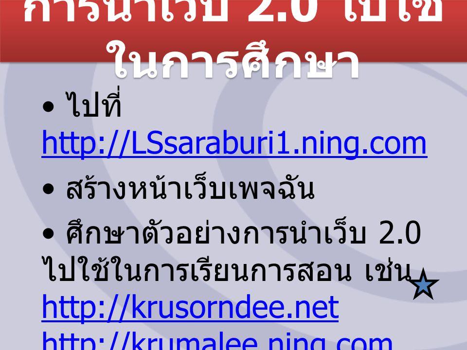 การนำเว็บ 2.0 ไปใช้ ในการศึกษา ไปที่ http://LSsaraburi1.ning.com http://LSsaraburi1.ning.com สร้างหน้าเว็บเพจฉัน ศึกษาตัวอย่างการนำเว็บ 2.0 ไปใช้ในการเรียนการสอน เช่น http://krusorndee.net http://krumalee.ning.com, http://krusorndee.net http://krumalee.ning.com