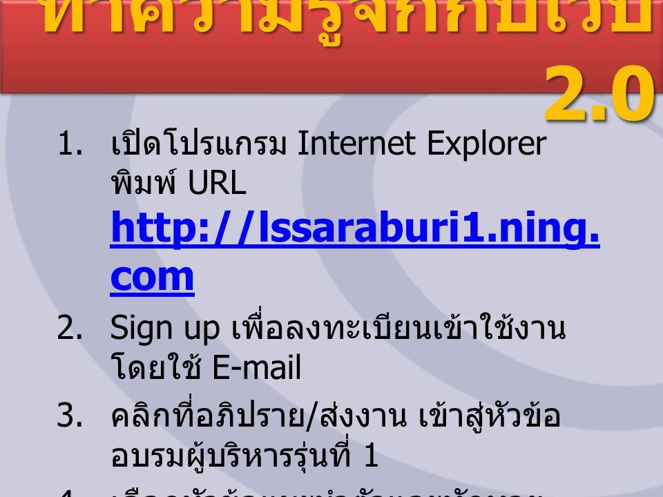ทำความรู้จักกับเว็บ 2.0 1. เปิดโปรแกรม Internet Explorer พิมพ์ URL http://lssaraburi1.ning.