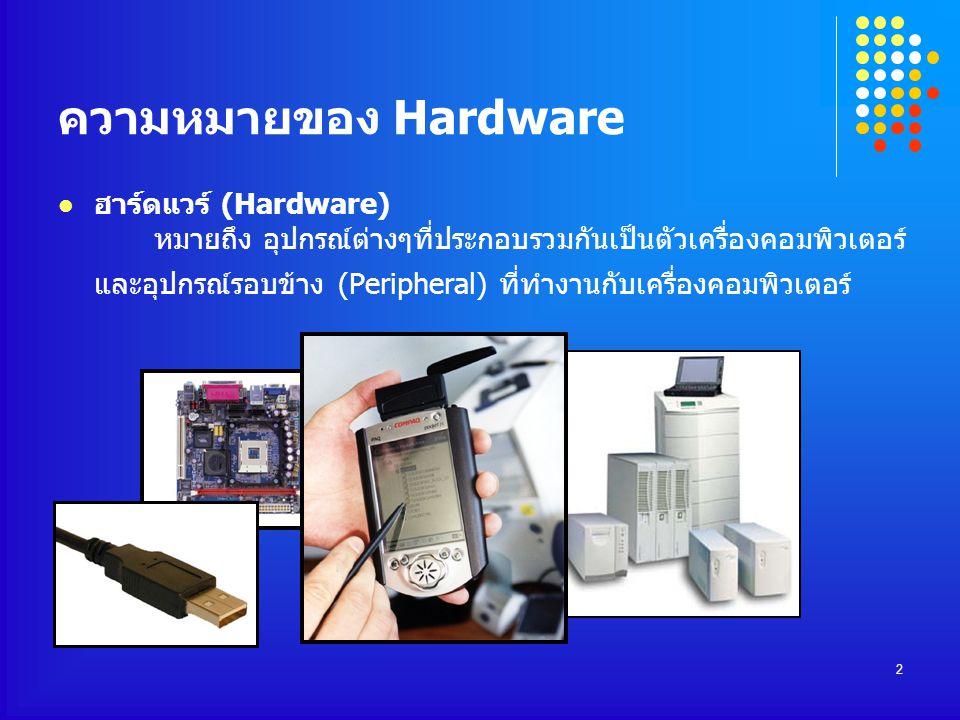 2 ความหมายของ Hardware ฮาร์ดแวร์ (Hardware) หมายถึง อุปกรณ์ต่างๆที่ประกอบรวมกันเป็นตัวเครื่องคอมพิวเตอร์ และอุปกรณ์รอบข้าง (Peripheral) ที่ทำงานกับเคร