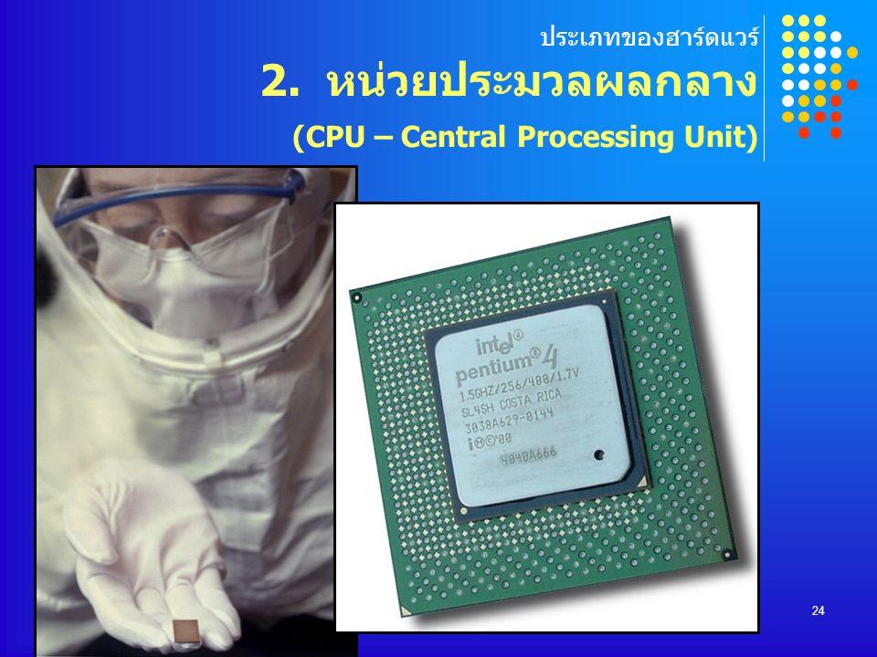 COMPUTER DEPARTMENT24 ประเภทของฮาร์ดแวร์ 2. หน่วยประมวลผลกลาง (CPU – Central Processing Unit)